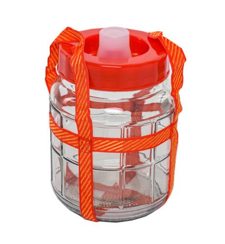 Стеклянная емкость для брожения с гидрозатвором, 5 л*
