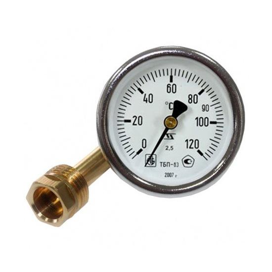 Термометр биметаллический, осевой 0-120°С