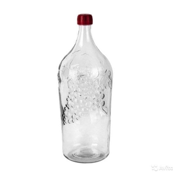 Бутыль стеклянная «Виноград», 2 л