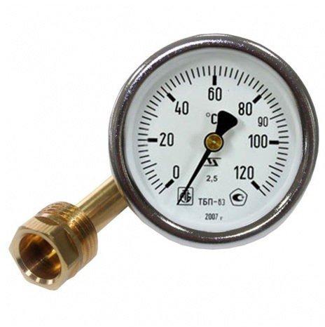 Термометр круглый с латунной гильзой